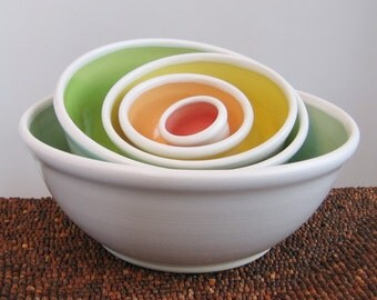 POTTERY SECONDS Rainbow Pottery Nesting Bowls - Large Ceramic Stoneware Serving Set