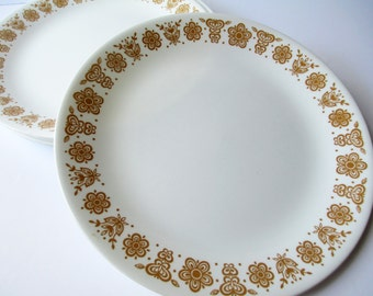 Corelle Butterfly Gold Dinner Plates Set of Six - Vintage Chic