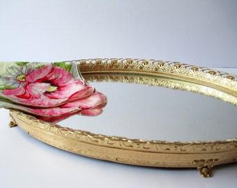 Vintage Rose Brass Mirrored Vanity Tray - So Chic
