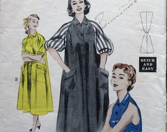 1950s Vintage Womens Robe Pattern Front Button Morning Dress Sewing Pattern Womens House Coat Pattern Butterick 6748 Sz 16