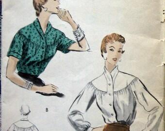 Vintage VOGUE Womens Blouse Pattern With Yoked Shoulder circa 1953 Sz12 Uncut