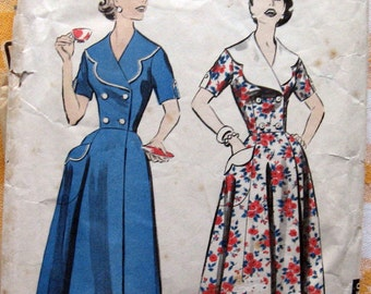 1950s Vintage Womens Robe Pattern In Ankle Or Short Length Double Breasted Button Front House Coat Sewing Pattern  Advance 8549 Sz 18