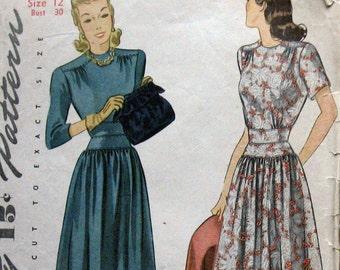 1940 Vintage Womens Dress Pattern Swing Era Style Dress Simplicity 4135 Sz 12