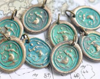 mermaid wax seal necklace pendant - make a splash - enchanting verdigris patina mermaid wax seal jewelry