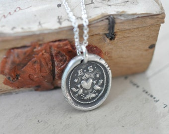 lovebirds and heart wax seal necklace ... love - fine silver antique wax seal jewelry