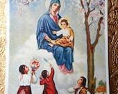 Vintage Christian Print, Marian Apparition, Fatima, Virgin Mary, Blessed Virgin, Postcard size Print, Original Print, Christian Catholic Art