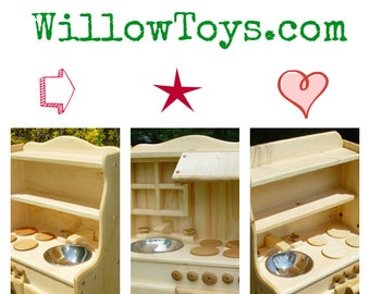 Play Kitchen, Ivy's,  100% real wood, wooden toy stove, kitchen kids,child's wooden play kitchen, waldorf,