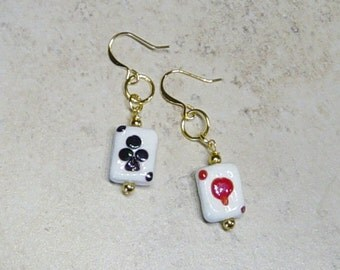 Playing Card Earrings,Glass Playing Card Bead Earrings, Gamblers Gift, Las Vegas, Casino, Poker