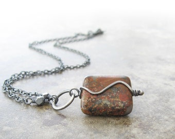 red jasper necklace, earthy stone pendant necklace, sterling and stone pendant