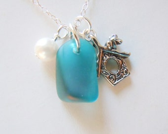 Sea Glass Necklace Birdhouse Turquoise Seaglass Jewelry - Beach Glass Necklace Pendant  Jewelry