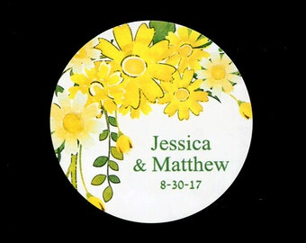 """Personalized Wedding Stickers - 2"""" Round Stickers - Bridal Shower Stickers - Yellow Flowers - Stickers for Favors"""