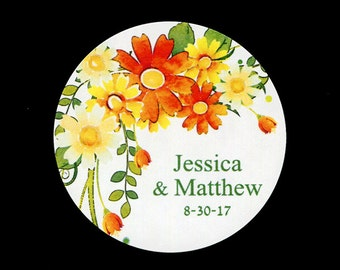 """Personalized Wedding Stickers - 2"""" Round Stickers - Bridal Shower Stickers - Yellow and Orange Flowers - Stickers for Favors"""