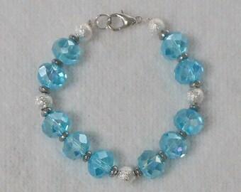 Girls Bracelet - Childs Bracelet - Beaded Bracelet For Girls - Children's Jewelry - Blue Bracelet - Flower Girl Bracelet