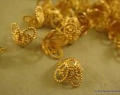 50 Brass Bead Caps Flower Unplated LF/CF 8.5x6mm - 50 pc - F4095BC-UN50