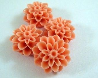 4 Salmon Cabochon Flower Bead Resin Dahlia 15mm - No Holes - 4 pc - CA2016-SN4