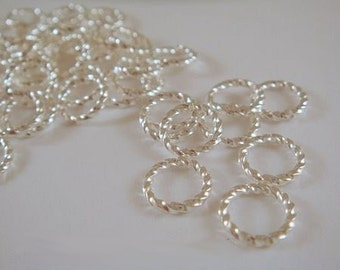 50 Silver Jump Rings 8mm Fancy Twisted Open Round 16 gauge 8mm Outside - 50 pc - 4006