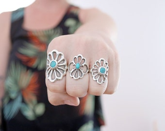 Vintage collection. Sterling silver Sand cast ring with Turquoise. Sand cast, flower ring, natural Turquoise, boho ring, turquoise ring.