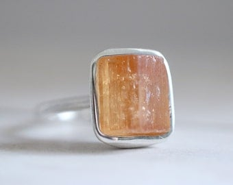 Imperial Topaz ring. Sterling silver ring with Imperial Topaz. Raw Imperial Topaz, Raw Topaz ring, Topaz ring, statement ring, silver ring.