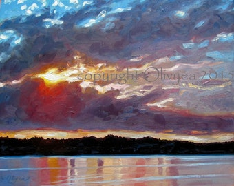 Island Sunset Painting, Original Oil on canvas, Landscape, Beach, Sunrise over water, Impressionistic, Large...16 x 20""