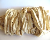 Silk Sari Ribbon, Recycled Antique White Sari Ribbon, 10 Yards