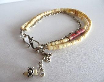 Clam Shell Heishe Bracelet, Beaded Bracelet, Sale