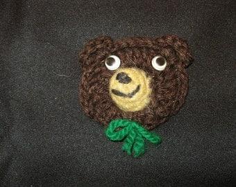 Vintage Yarn Tiny Teddy Bear Package Decoration, Ornament or Lapel Pin Christmas Present Gift Hostess Teacher Stocking Stuffer