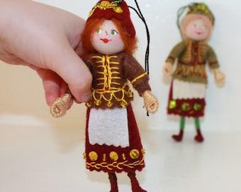 Felt Art Doll or Hanging Ornament Woodland Colors Pixie, Handmade felt dolls, felt decorations, felt figurines