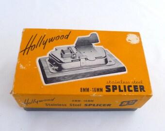 "Film Splicer, 8mm 16mm, Hollywood splicer, stainless steel, 1940s splicer, retro cinema, wood base, 4""x6"" carton, orange black, photography"