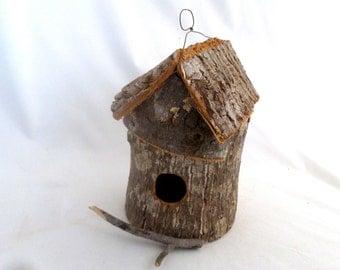 "Birdhouse - bark round with twig perch, wire hanger, 1 1/4"" opening, bark and twig birdhouse, 8"" x 5"" x 5"" birdhouse, natural birdhouse"