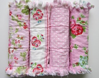 Girl Burp Cloths, Burp Cloth Set, Flannel Burp Rags, Pink and Red Roses