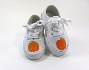 Boys Pumpkin Shoes, Thanksgiving Sneakers, Hand Painted Fall or Autumn Shoes For Baby or Toddler