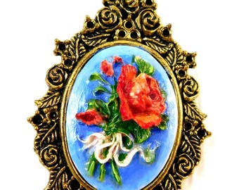 Hand Painted Rose Cameo Pendant