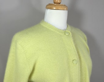 Vintage Lambswool Sweater, Yellow Cardigan Sweater, Angora Sweater,  Calude Vernet Sweater,  Lemon yellow sweater
