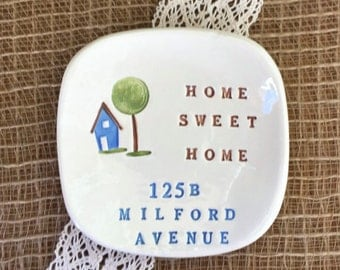Home Sweet Home Personalized Housewarming Gift, Ring Dish,New Home Gift, Gift for New Homeowner, Newlywed Gift,Trinket Dish