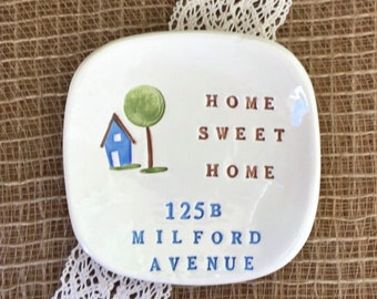 Home Sweet Home Personalized Housewarming Ceramic Gift Dish