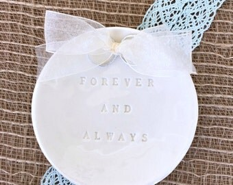 Wedding Ring Pillow Forever & Always Ring Bearer Pillow Alternative, Ring Warming, Wedding Ring Holder, Wedding Ring Dish