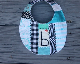Baby Girl Bib Bella Beatrice Bonnie Brooke B Quilted Embroidered Turquoise Aqua White Black Flannel