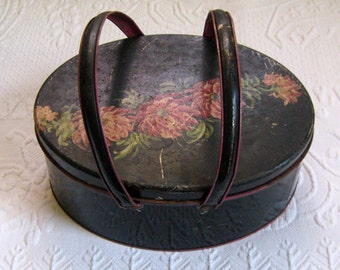 cookie tin with handles . Vintage Cookie Tin with Handles . chrysanthemum tin . dutch maid tin
