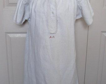 antique linen nightgown . homespun linen nightgown . homespun linen . German linen nightgown . victorian nightgown late 1800