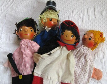 wooden finger puppets . german puppets . lot of 4  . 4 hand puppets . kasper puppet . hand puppets . red riding hood puppets
