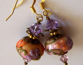 Gift for Mothers Day, Lampwork Earrings Cream, Orange, and Pink Base with Raised  Lavender Flowers, Lampwork Jewelry, Dangle, Drop