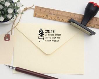 Custom Rubber Stamp - Custom Address Stamp - Return Address Stamp - Personalised Address Stamp - Gift - Potted Plant