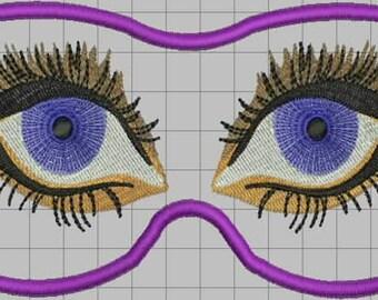 Eyemask Eyes Digitized Embroidery Design
