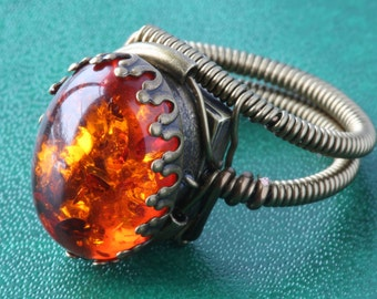 Amber ring, Steampunk Jewelry - Ring - Lab created Amber - 18x13mm