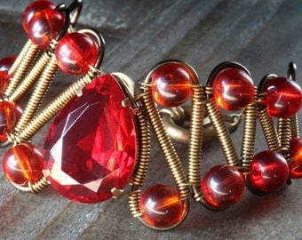 Steampunk Neo Victorian Jewelry - Bracelet - Ruby Red Glass faceted jewel