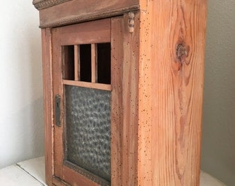 Antique English Pine Pie Safe or Apothecary Medicine Cabinet Dental Molding and Brass Key Hole