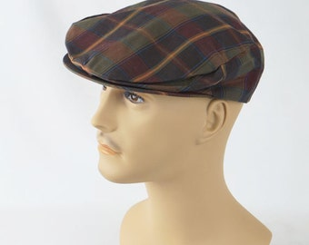 Vintage 1950s Mans Green Plaid Cotton Flat Cap Sz 7 1/8