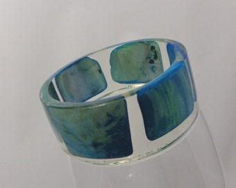 OOAK Real Blue Abalone Shells in Clear Resin Bracelet Bangle Jewelry Nature Sea Shells