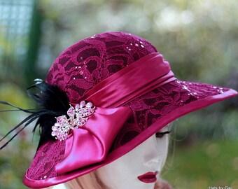 Vintage Style Elegant Sun Hat Edwardian Wide Brim Raspberry Cranberry Red Lace Feathers Sequins