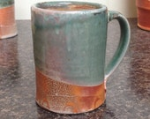 Coffee Mug. Soda Fired Stoneware with Copper Green Glaze.
